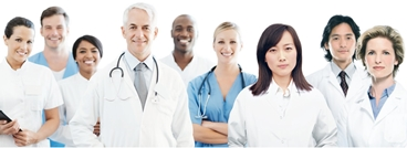 Medical team of doctors and nurses